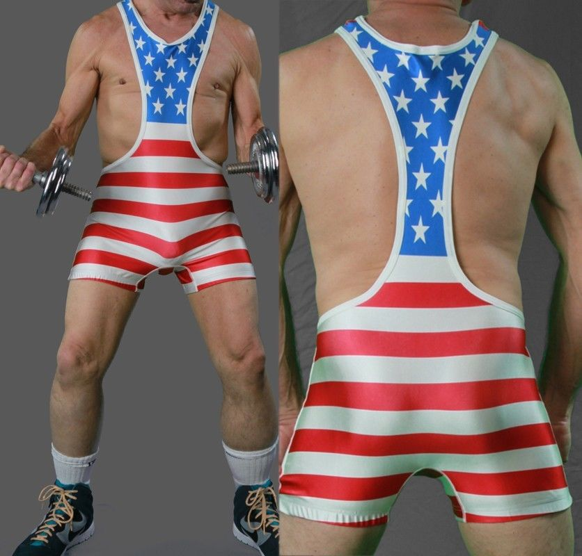 Mens American Flag Trunk Wrestling Singlet Gym Outfit Weight Lifting Outfits  Tight Suit One Piece Youth Wrestling Gear-in Rash Guard from Sports ... - Mens American Flag Trunk Wrestling Singlet Gym Outfit Weight