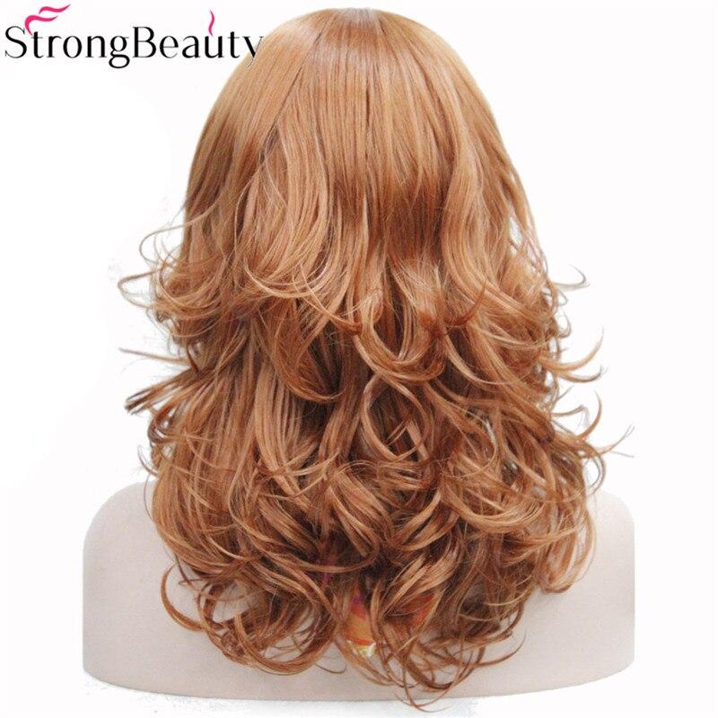Image 4 - StrongBeauty 合成ミディアムカーブラウンブラックブロンド系 Amrican 女性の前髪とwig blackwig black curlywig brown -