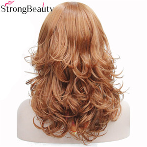 Image 4 - StrongBeauty 合成ミディアムカーブラウンブラックブロンド系 Amrican 女性の前髪と
