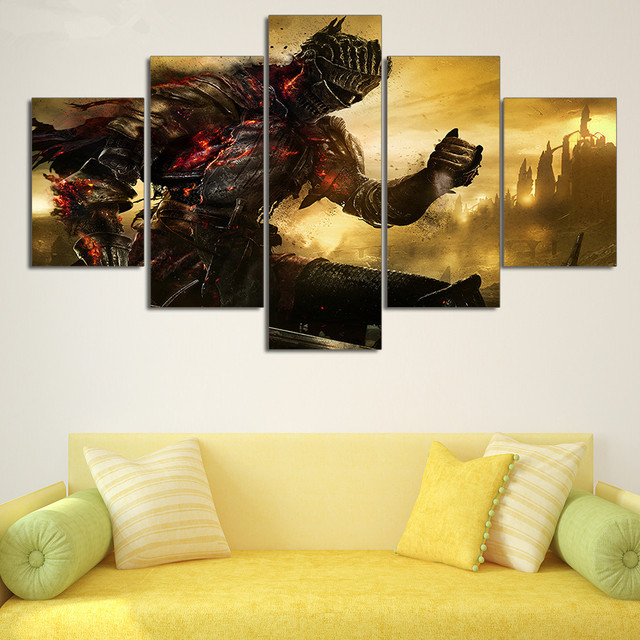 5 Pieces HD Printed Painting Dark Souls Oil Abstract Painting on ...