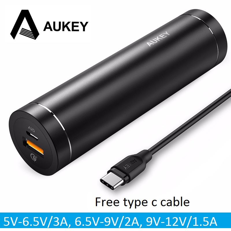 AUKEY Quick Charge 3.0 5000mAh Power Bank Column Powerbank External Batteries Portable Fast Charger for Samsung mi5 Mobile Phone