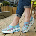 2017 platform Summer women casual shoes women wove wedges shoes ladies fashion boat shoes breathable walking shoes