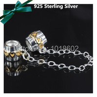 Free Shipping S925 Sterling Silver Gold Heart Safety Chains Beads DIY Themed Bracelet Necklace For Pandora