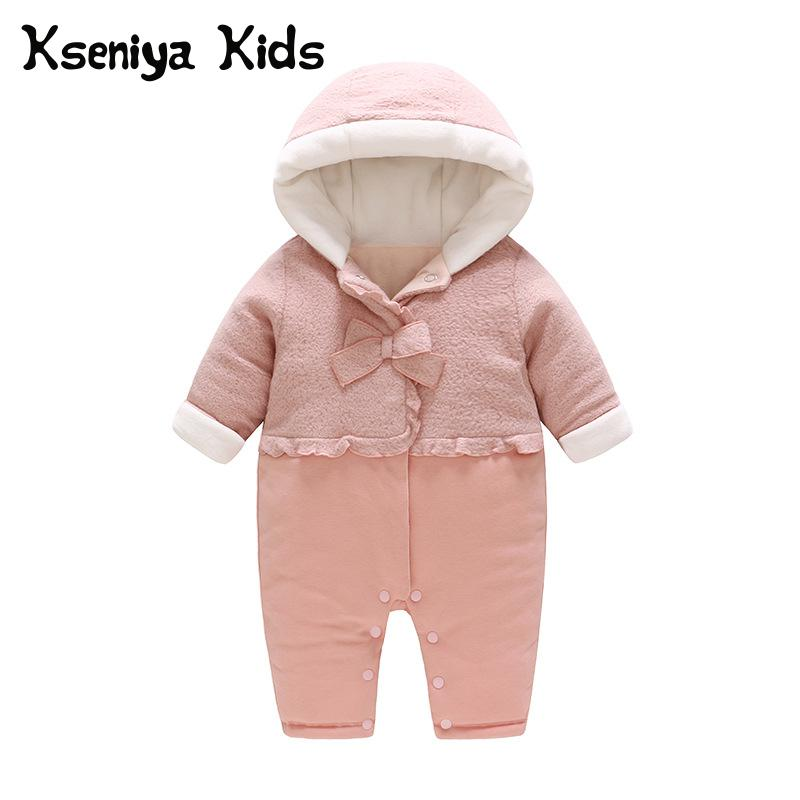 Kseniya Kids 2018 New Autumn Winter Warm Clothes Newborn Baby Girl Bow Thick One Piece Jumpsuit With Hat Newborn Winter Clothes kids winter clothes age for 2 8 years girl clothes thick warm baby pullover 2018 new autumn cute bow sweater back to school tops