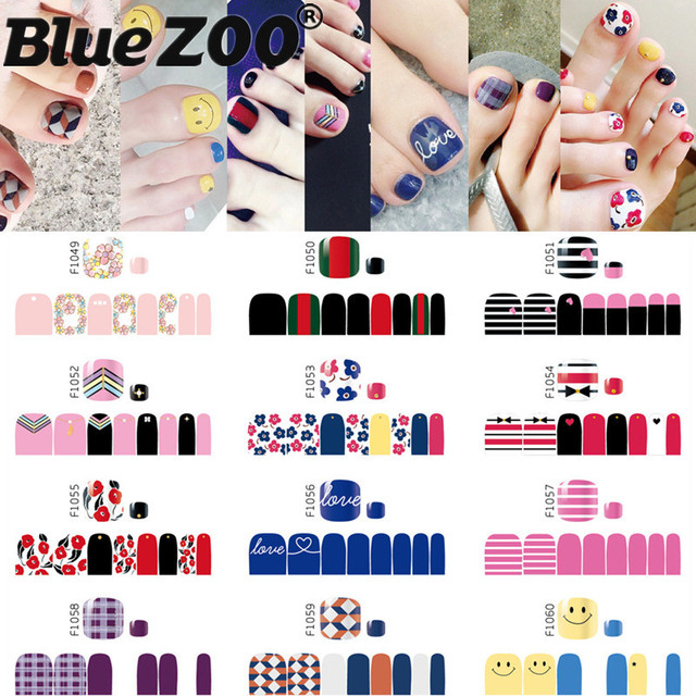 Top Fashion Toenails Stickers Mix Nail Design Adhesive Full Cover