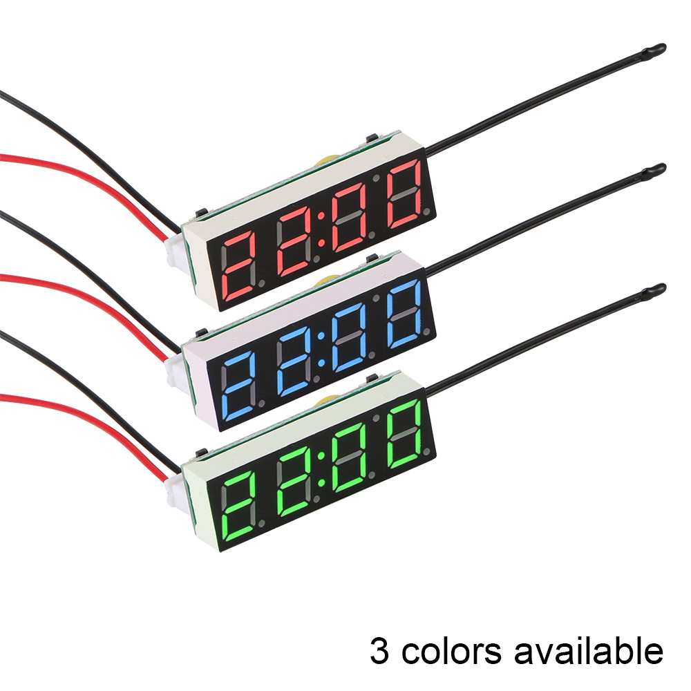 Car Electric Clock Digital Timer Led Temperature Clock Thermometer Voltmeter Led Display Digital Clock Green Blue Red Light To Have Both The Quality Of Tenacity And Hardness