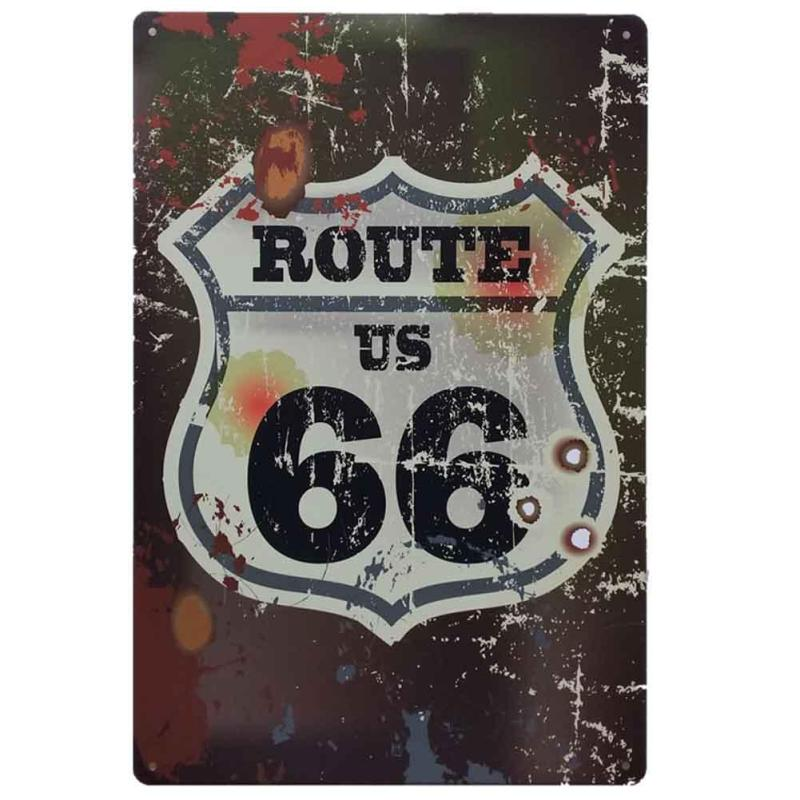 Signage Retro Metal Tin Sign ROUTE66 Highway metal painting Shop Oil Painting Antique Ir ...