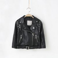 HOT Sale Fashion Show Black Red Leather Jacket Girls Kids Clothing 2016 NEW Oblique Zipper