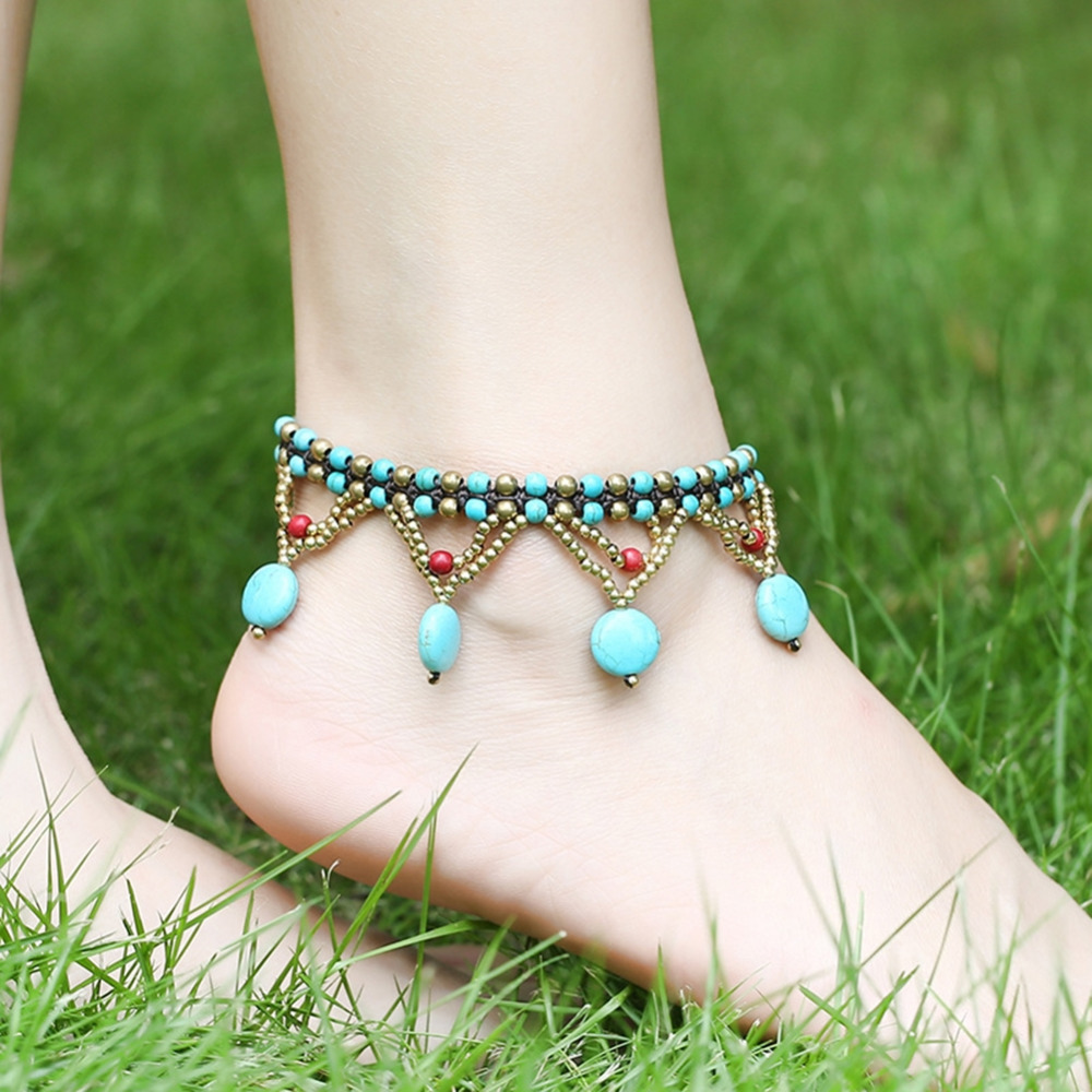Creative Natural Stone Hollow Wax Line Anklet Bohemian Beach Jewelry for Women Gifts Foot