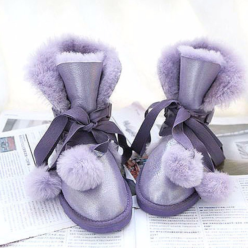 Top Quality Fashion Women Snow Boots 100% Natural Fur Wool Warm Winter Boots Women Boots Genuine Sheepskin Leather Boots