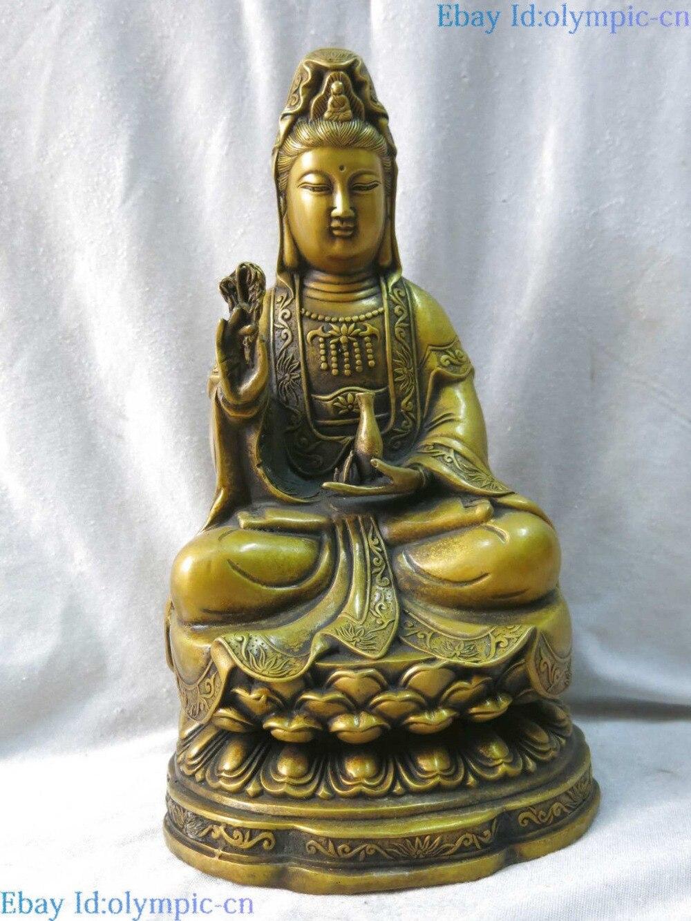 11 chine fine laiton cuivre Avalokitesvara sculpture kwan-yin bouddha Statue11 chine fine laiton cuivre Avalokitesvara sculpture kwan-yin bouddha Statue