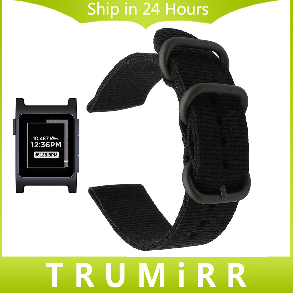 Premium Woven Nylon Watchband +Tool for Pebble 2 / 2 SE Sports Watch Band Soft Breathable Strap Canvas Belt Wrist Bracelet Black canvas nylon watchband tool for garmin fenix 5 forerunner 935 fr935 leather watch band sports strap steel buckle bracelet