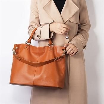 Nesitu High Quality Brown Grey Black A4 Genuine Leather Women Handbags Messenger Bag Office Work Ladies' Shoulder Bags M7988