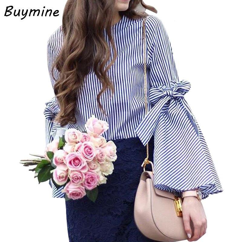 Sexy flare manga arco blusa camisa verano de las mujeres remata la blusa elegant