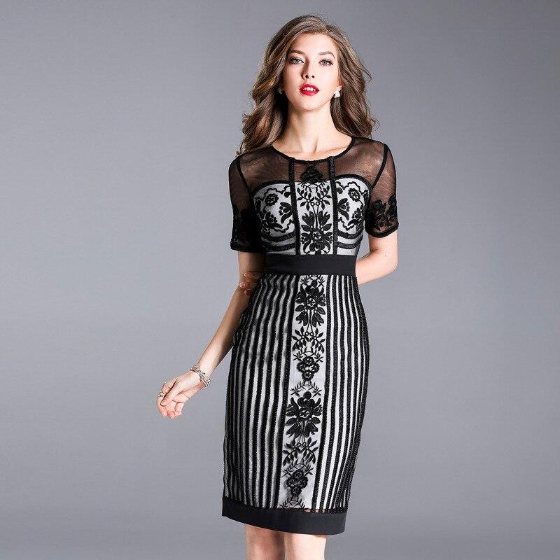b73393b3dbb4 Work Office Business dress 2018 NEW luxury Spring summer women elegant lace  Dress plus size M XXXL Vintage Embroidery dresses-in Dresses from Women's  ...