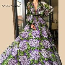Angel Novias Long Sleeves V Neck Lace Evening 2019
