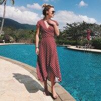 DERUILADY On Vacation Casual Higt Waist Long Dress V Neck Dot Short Sleeve Women Dress Asymmetrical