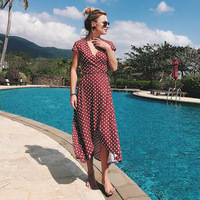 DERUILADY On Vacation Casual Higt Waist Long Dress V Neck Dot Short Sleeve Women Dress Asymmetrical