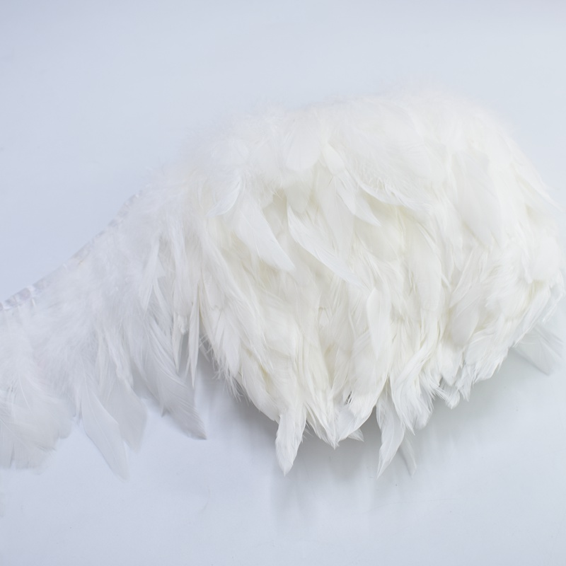 1 meters white chicken feather trim Sewing clothes DIY rooster tail feather Fringe dyed Decorative Colored feather crafts pluma in Feather from Home Garden