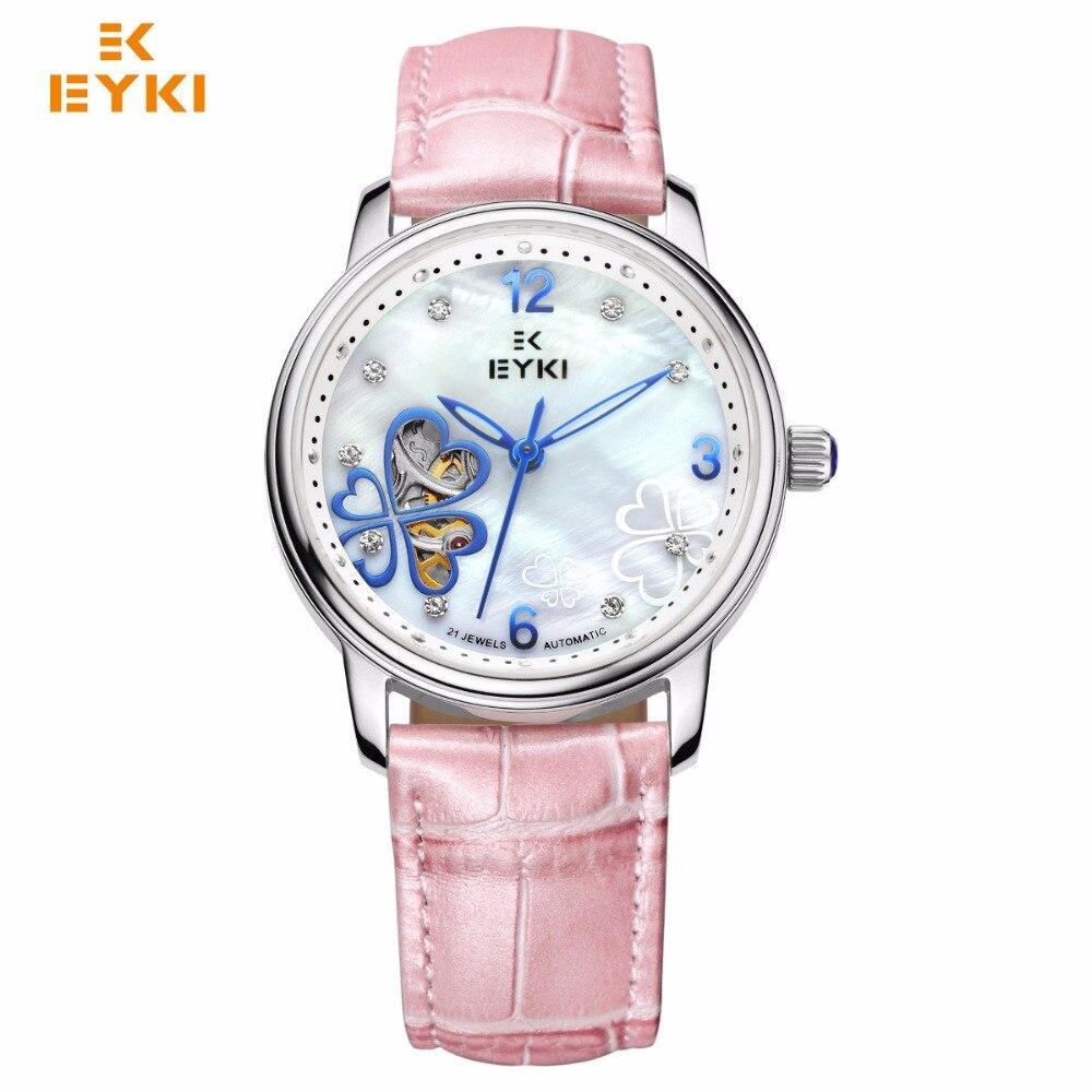 EYKI для женщин нержавеющая сталь полые механические часы дамы Любовь Клевер Циферблат платье часы кожа кварцевые наручные подарок