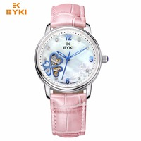 EYKI Women Stainless Steel Hollow Mechanical Watch Ladies Love Clover Dial Dress Watches Leather Quartz Wristwatches Gift