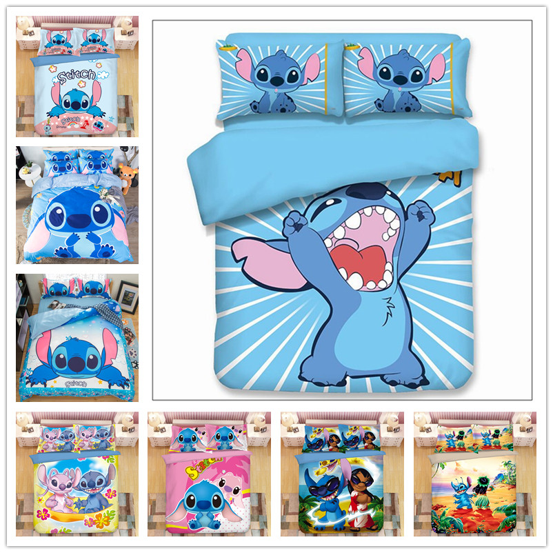Disney Lilo & Stitch  Bedding Set Children Duvet Covers Pillowcases Cartoon Bed Set Comforter Bedding Sets Bedclothes Bed Linen