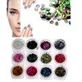 12 unids Colores Del Arte Del Clavo Pegatinas Láser Acrílico 3D Glitter Lentejuelas Manicura DIY