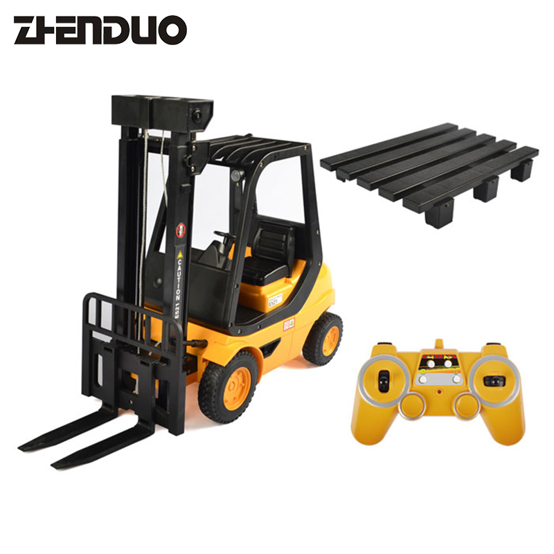 ZhenDuo Toys RC Forlift 2.4G Remote Control Car Fork Shovel Truck Lift Pallets Engineering Vehicle Model Electronic Hobby Toys