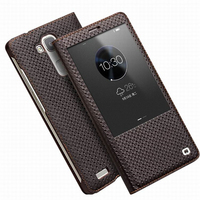 QIALINO Genuine Real Leather Case For Huawei Ascend Mate 7 Smart Window View Flip Case Auto