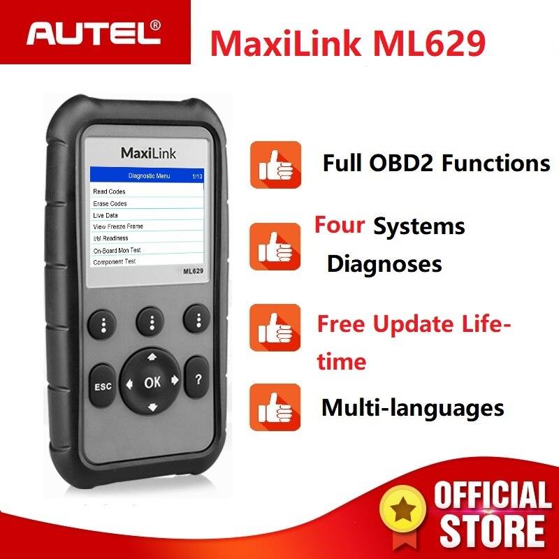 Autel ML629 OBD2 Scanner Automotive Engine Transmission ABS SRS Diagnoses Tool Full OBD 2 Function and DTC Lookup PK ML619 AL619Autel ML629 OBD2 Scanner Automotive Engine Transmission ABS SRS Diagnoses Tool Full OBD 2 Function and DTC Lookup PK ML619 AL619