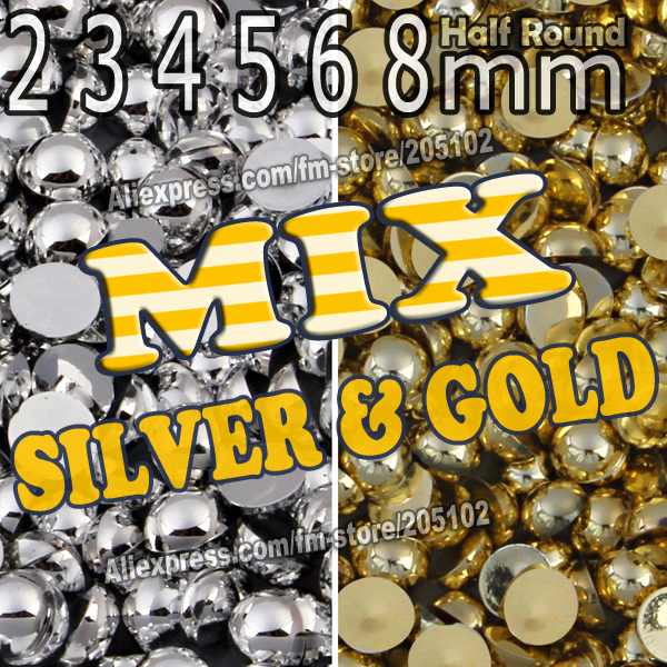 Mix Colors Sizes Silver Gold Half Round FlatBack Pearl Bead,2mm 3mm 4mm 5 6 8mm ABS fashion decor jewelry for Nail Art DIY Phone(China)