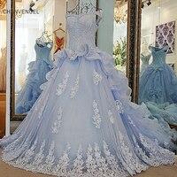 Vestido De Casamento LS57001 כדור שמלה ואגלי אורגנזה תחרה עד בחזרה שנהב וכחול Rhinestones שמלות כלה כלה