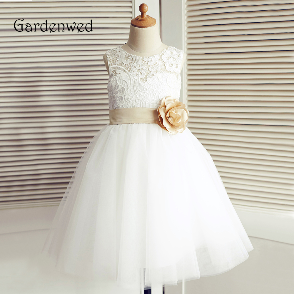 Chemical Lace Flower Girl Dress Ivory 2019 Knee Length Champagne Bow Belt Little Girls Kids/Children Dress Wedding Pageant Dress