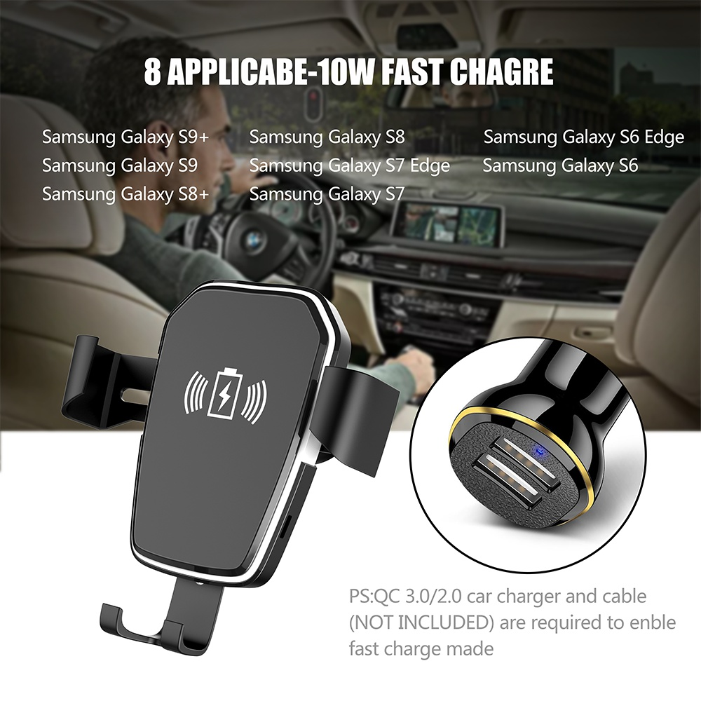 Image 3 - 10W Qi Car Wireless Charger For iPhone Xr X Gravity Sucker Car Phone Holder Fast Charging For Samsung S10 S9 Adjustable Mount-in Car Chargers from Cellphones & Telecommunications
