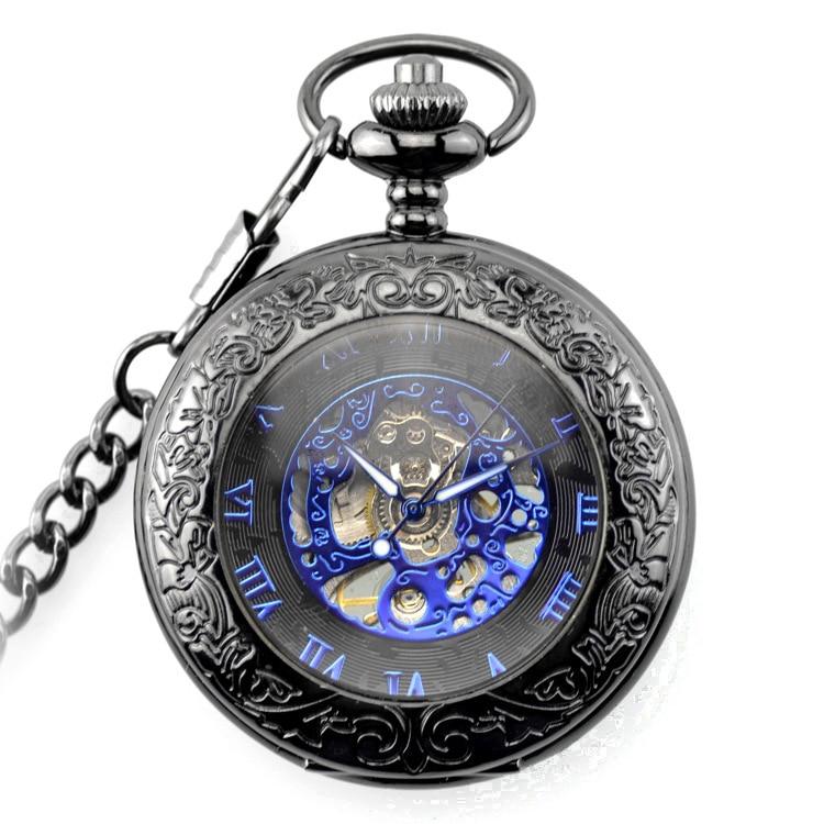 Relógio de Vento Relógio de Bolso do Vintage Relógio de Bolso Mão de Esqueleto Fob com Corrente Azul Relógio Mecânico Automático Homens Colar &