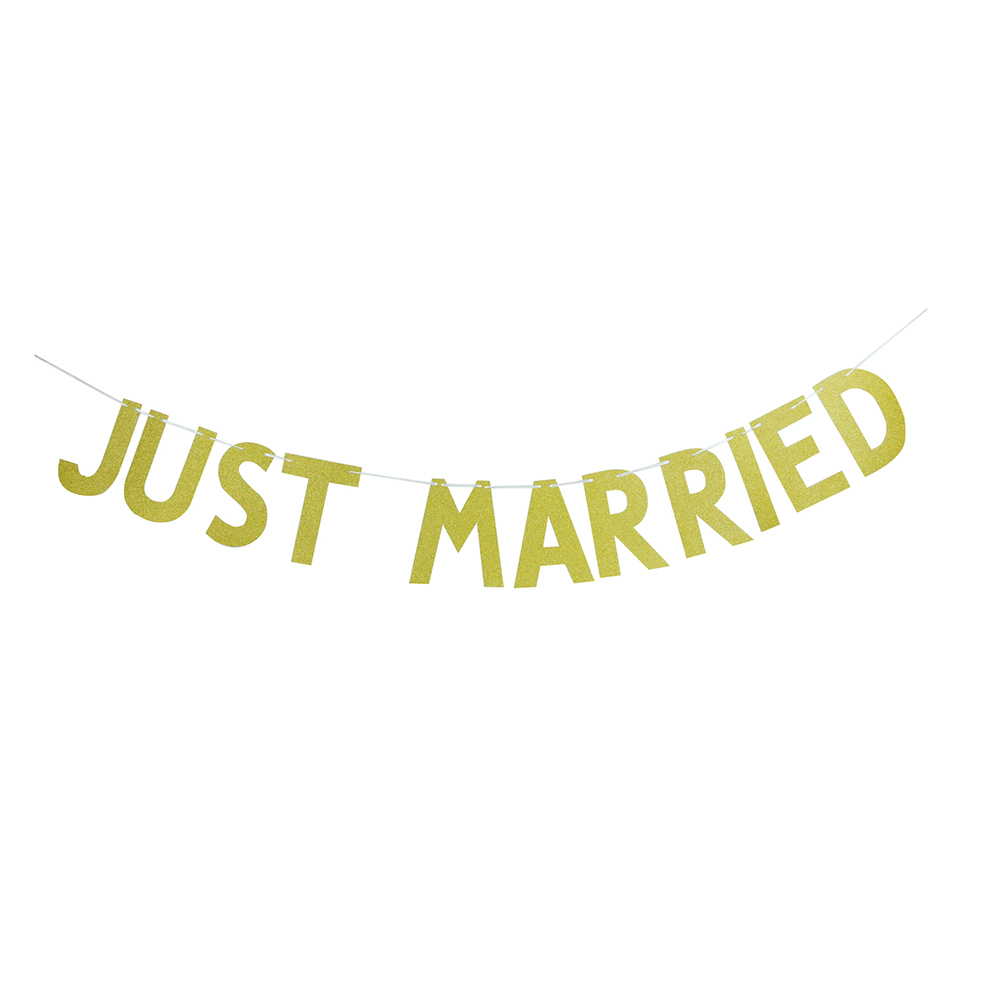 3M(10ft) JUST MARRIED Gold Glitter Banner Sign Wall Bunting Bridal Shower Wedding Party  ...