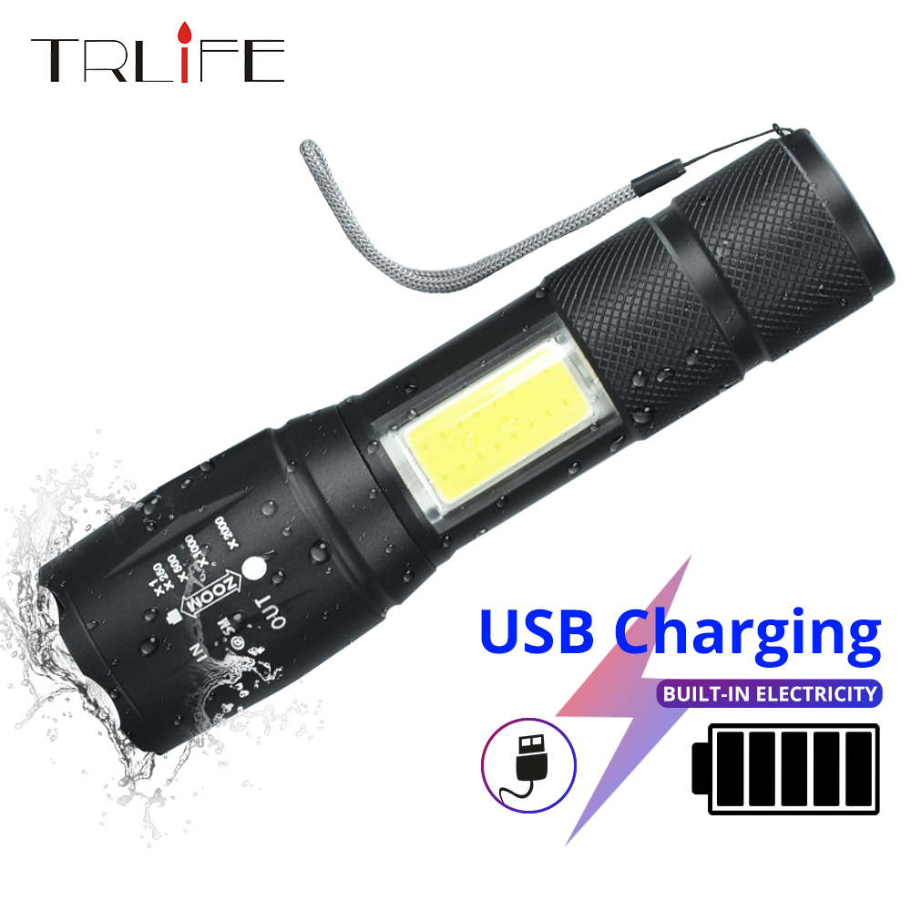 Upgrade Newest Design USB Charging Powerful Flashlight 10000Lus 4Modes T6 L2 LED Torch Zoom Tactical Torch With 2400mAh Battery