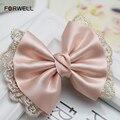 Girls Loves Bow Lace Hair Pins Wedding Hair Accessories Pink Bowknot Tiara Head Flower New Hair Clip Tiara Bridal Accessories