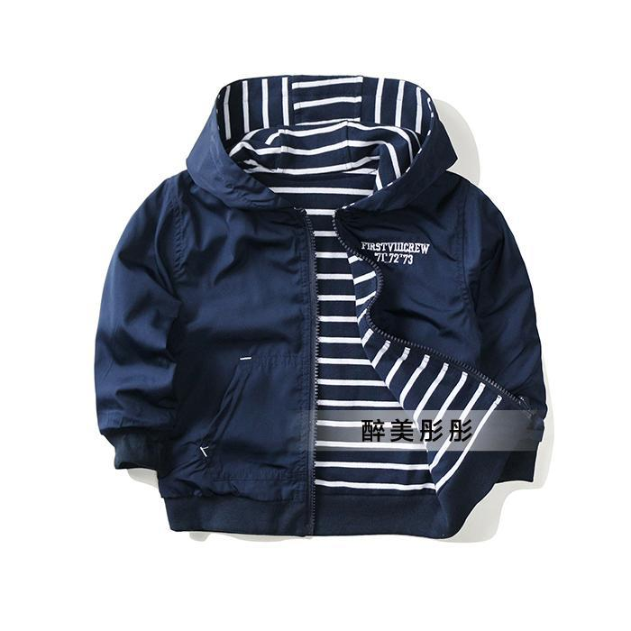 Фото New 2015 spring autumn coat baby clothing boys jackets kids striped Both sides wear hooded jackets Casual children OUTERWEAR