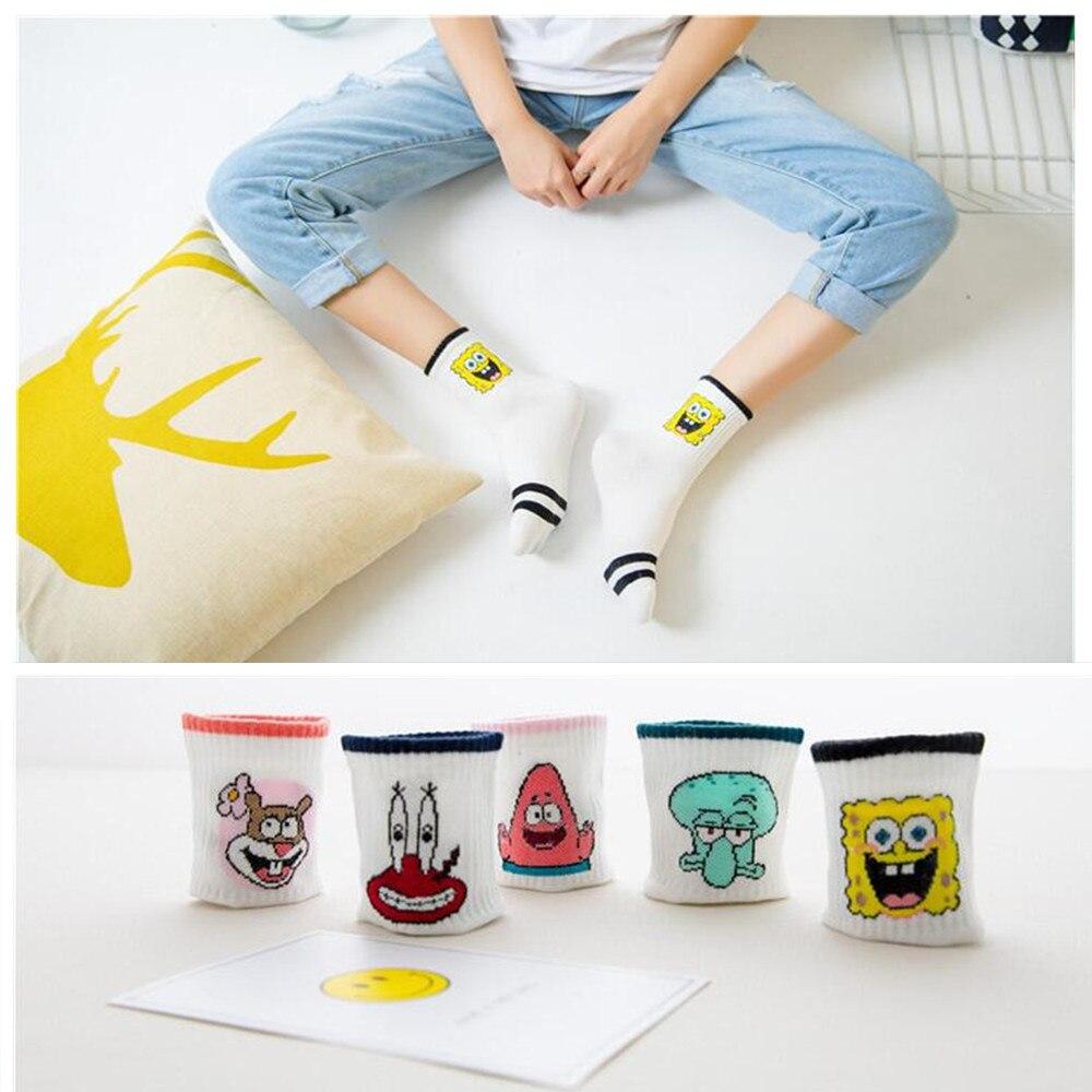 1 Pair Of Cartoon Cute Socks Ladies Harajuku Style Anime Characters Sandy Pattern Ankle Socks Fun Sponge Baby Woman Socks Socks