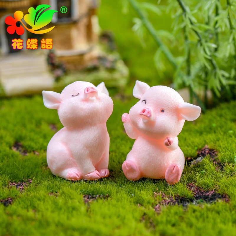 ZOCDOU 1 Piece Cute Pink Pig Pigs China Korean Model Statue Figurine Crafts Figure Ornament Miniatures Girl Home Room Decoration