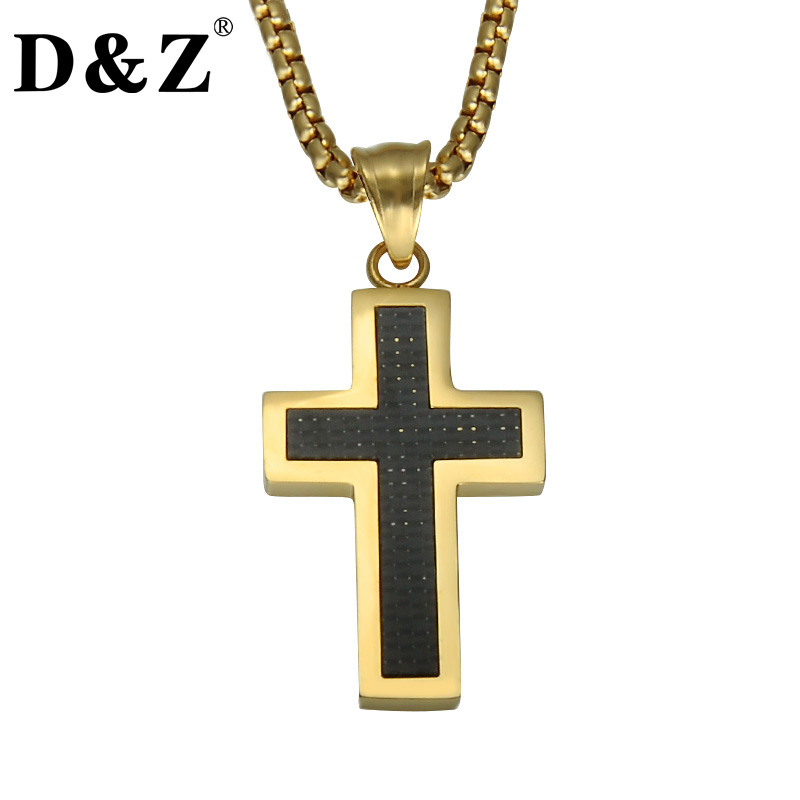 лучшая цена D&Z Religious Gold Color Jesus Cross Pendant & Necklace Stainless Steel Crucifix Carbon Fiber Necklaces for Christian Jewelry