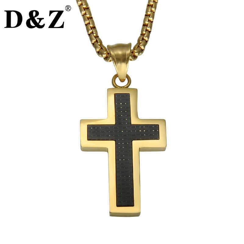 fe3dacae41c2 D   Z religiosa oro Color Jesús Cruz colgante y collar crucifijo de acero  inoxidable fibra