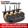 Plug & Play 2CH/4CH 720 P 1.0MP IP Sem Fio Sistema de Câmera IR 20 M WI-FI NVR Kit de Segurança Ao Ar Livre Sistema de Vigilância CCTV P2P Vista