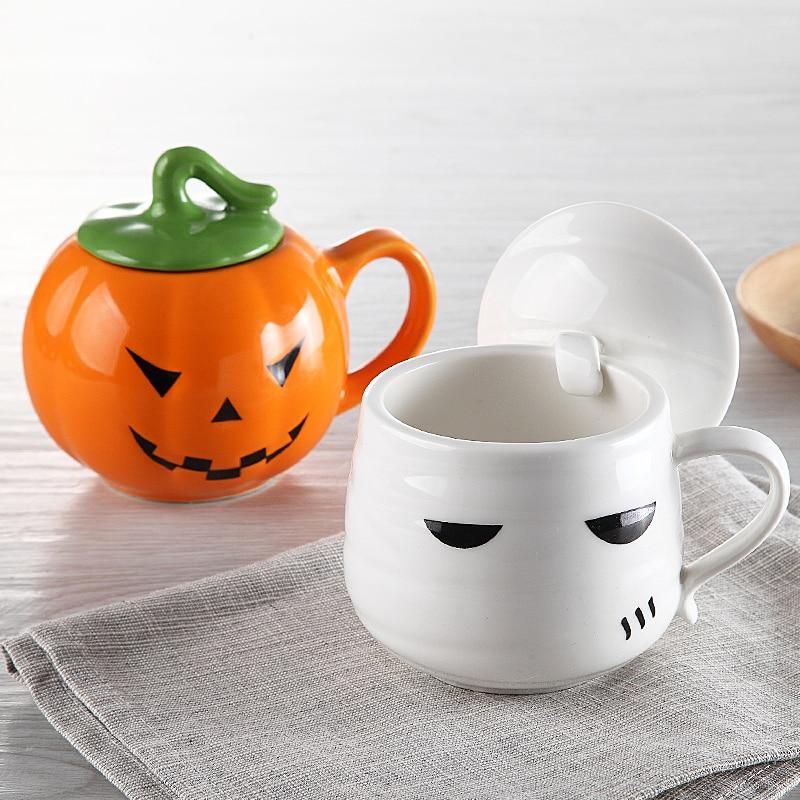 Halloween Christmas Gift Pumpkin <font><b>Devil</b></font> Mug 400ml Funny Personalized Ceramic Coffee <font><b>Cup</b></font> Porcelain Zakka Novelty For Bar Decor