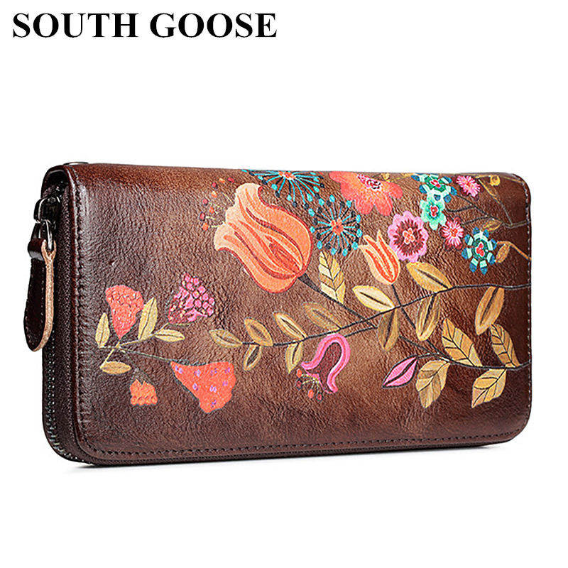 SOUTH GOOSE Women's Wallet Genuine Leather Female Long Clutch Handy Bag Flower Embossing Vintage Cowhide Money Clips Cards Purse