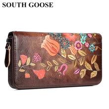 SOUTH GOOSE Women's Wallet Genuine Leather Female Long Clutc