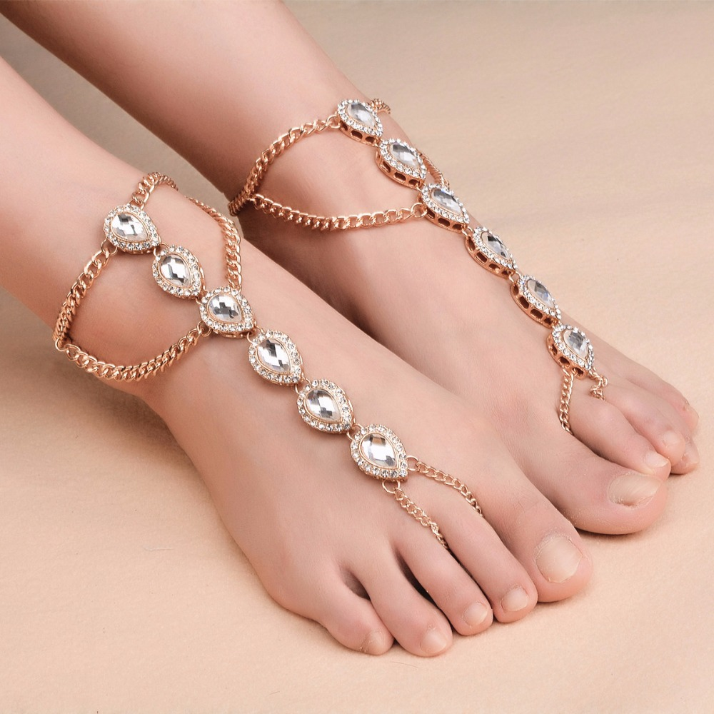 1 pcs bohemian anklets for women water drop anklet bracelet rhinestone barefoot sandals foot jewelry boho beach accessories