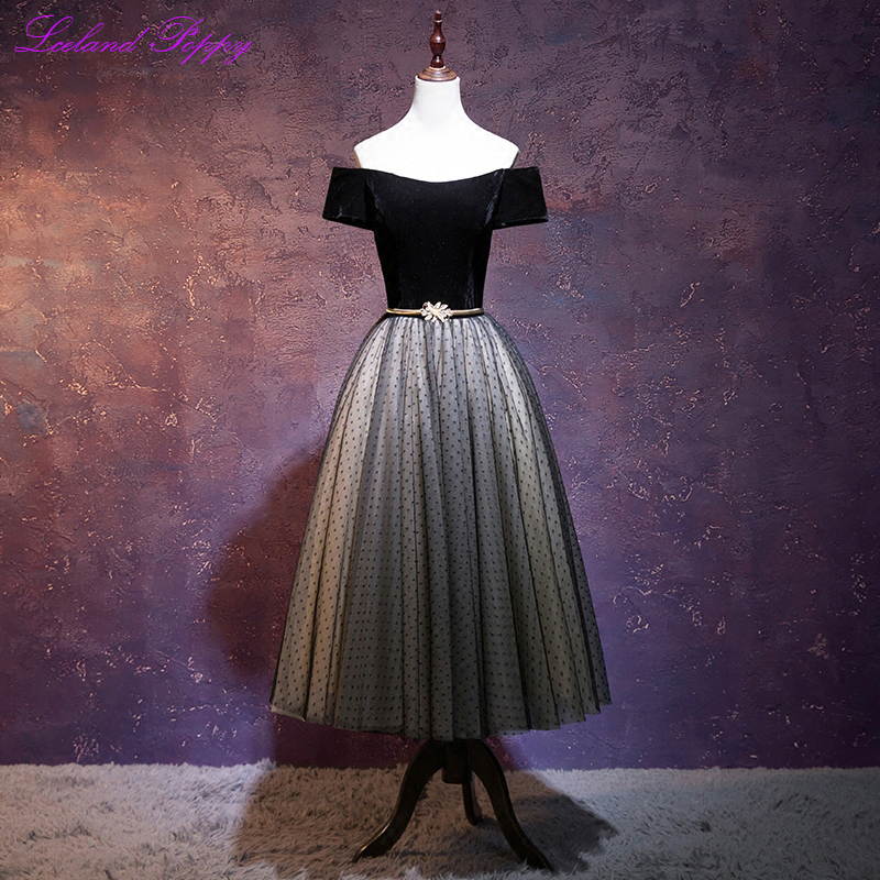 New Arrival Women's Off the Shoulder Black Velvet   Cocktail     Dresses   Tea Length Vintage A-line Party   Dress   Formal   Dress   with Belt