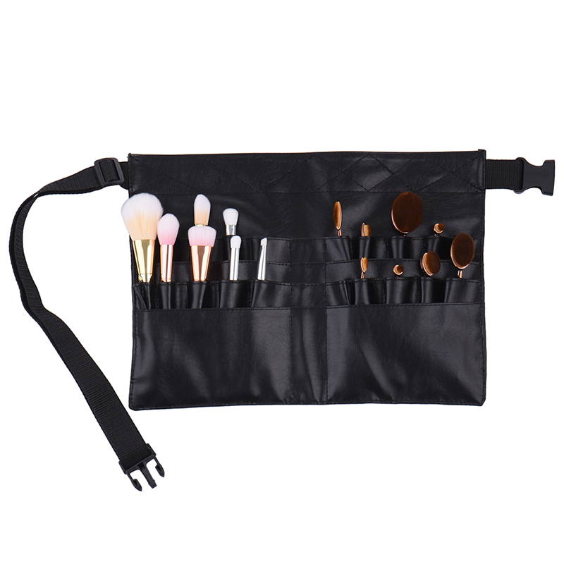 New Black Two Arrays Makeup Brush Holder Protable Make Up Bag Cosmetic Brush Bag Professional PVC Apron Bag Artist Belt Strap claw of dragon style rings golden bronze 3 pcs